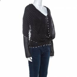 Roland Mouret Black Alpaca Weave Knit Charp Cape Overlay Top M 223461