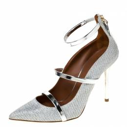 Malone Souliers Silver Glitter Fabric and Patent Leather Robyn Ankle Strap Pumps Size 36 224076