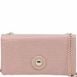 Versace Jeans Pink Embossed Synthetic Leather Clutch Bag 224343