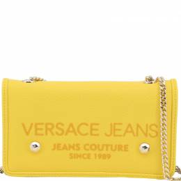 Versace Jeans Yellow Synthetic Leather Clutch Bag 224346