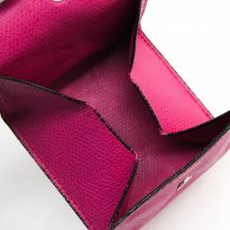Valextra Magenta Leather Coin Wallet 223426