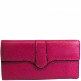 Valextra Pink Leather Long Wallet 223408