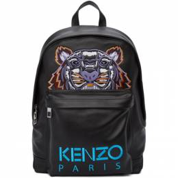 Kenzo Black Leather Tiger Backpack 192387M16600601GB