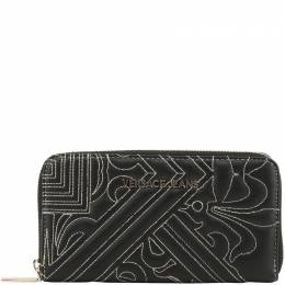 Versace Jeans Black Faux Quilted Faux Leather Zip Around Wallet 226004