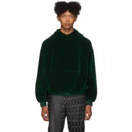 Haider Ackermann Green Velour Hoodie 192542M20200504GB