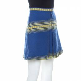 Alice + Olivia Blue Cotton Inverted Pleat Russo Skirt M 226696