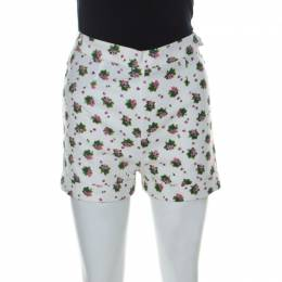 See By Chloe White Cotton Floral Printed Shorts S 227274