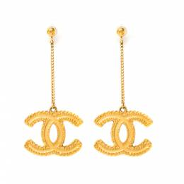 Chanel CC Textured Gold Tone Long Drop Earrings 227359