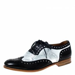 Church's Metallic Silver And Black Brogue Leather Oxfords Size 37 227336