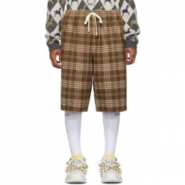 Gucci Brown and Beige Vintage Check Shorts 192451M19303104GB
