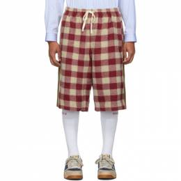 Gucci Red and Off-White Vintage Check Shorts 192451M19203105GB