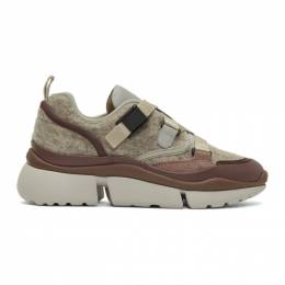 Chloe Grey and Brown Sonnie Sneakers 192338F12800807GB