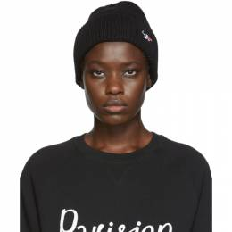Maison Kitsune Black Ribbed Tricolor Fox Patch Beanie 192389F01400301GB