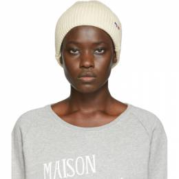 Maison Kitsune Off-White Ribbed Tricolor Fox Patch Beanie 192389F01400201GB