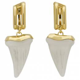 Chloe Gold and Off-White Tooth Earrings 192338F02202601GB