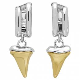 Chloe Silver and Gold Shark Tooth Earrings 192338F02202701GB