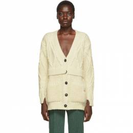 Victoria Beckham Off-White Chunky Cable Oversized Cardigan 192784F09500301GB
