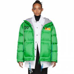 Off-White Green Down Scaffolding Zipped Puffer Jacket 192607F06101502GB