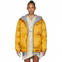 Off-White Yellow Down Industrial Zipped Puffer Jacket 192607F06101301GB