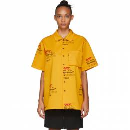 Off-White Yellow Industrial Holiday Short Sleeve Shirt 192607F10900804GB