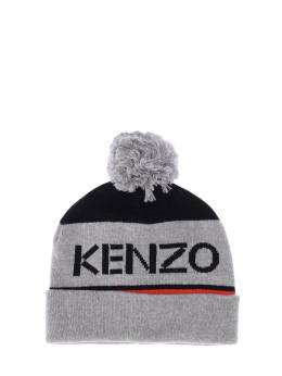 Logo Jacquard Cotton Blend Knit Hat Kenzo Kids 70IOEH111-MjU1