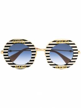 Gucci Eyewear - striped circle frame sunglasses 559I3336955056960000