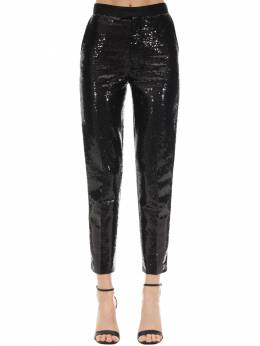Sequined Pants W/ Satin Side Bands Elie Saab 70IB4T015-QkxBQ0s1
