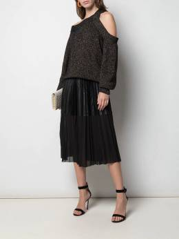 Nude - faux leather panel pleated skirt 36039569805300000000