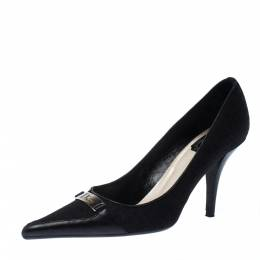 Dior Black Diorissimo Canvas And Leather Pointed Toe Pumps Size 37.5 227839