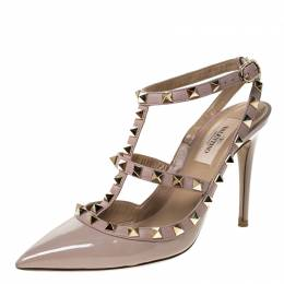 Valentino Beige Patent Leather Rockstud Pointed Toe Sandals Size 36.5 228113