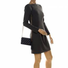 Tory Burch Navy Blue Quilted Leather Fleming Stud Crossbody Bag 227007