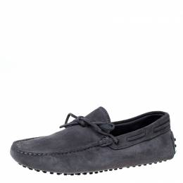 Tod's Grey Suede Leather Bow Slip On Loafers Size 42 227000