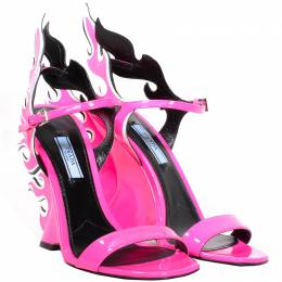 Prada Neon Pink Patent Leather 2018 Flame Sandals Size 38 225189