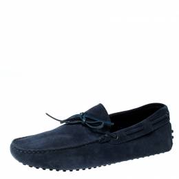 Tod's Blue Suede Leather Bow Slip On Loafers Size 42.5 226997