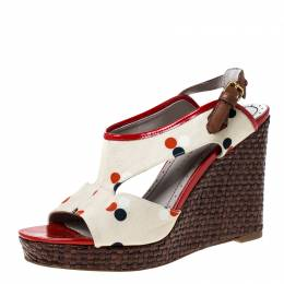 Marc By Marc Jacobs White Canvas Polka Dot Wedge Platform Sandals Size 38 226532