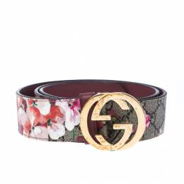 Gucci Multicolor Blooms GG Supreme Canvas and Leather GG Buckle Belt 90CM 227476