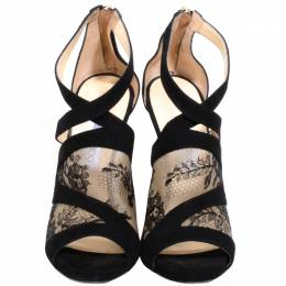 Jimmy Choo Black Suede And Lace Vintage Sandals Size 40 225187