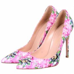 Mary Katrantzou X Gianvito Rossi Pink Leather Floral Pumps Size 37 225178