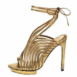 Tom Ford Gold Metallic Gold Python Leather Strappy Sandals Size 39 227265