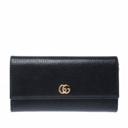 Gucci Black Leather GG Marmont Continental Wallet 227467
