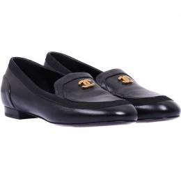 Chanel Black Leather CC Loafers Size 36 225197