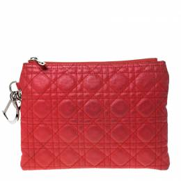 Dior Red Cannage Quilted Coated Canvas Panarea Clutch 226891