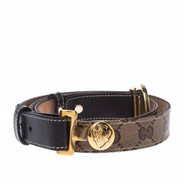 Gucci Beige/Brown GG Supreme Canvas and Leather Round Hysteria Buckle Belt 95CM 227447