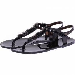 Chanel Black Camellia Jelly Thong Sandals Size 42 225177