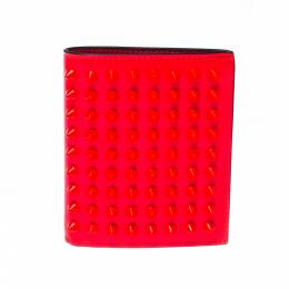 Christian Louboutin Neon Orange Leather Clipsos Studded Bifold Wallet 225032