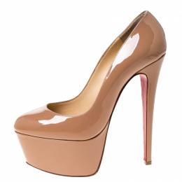 Christian Louboutin Beige Patent Leather Victoria Platform Pumps Size 38.5 227080