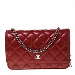 Chanel Red Quilted Leather WOC Chain Clutch Bag 226911