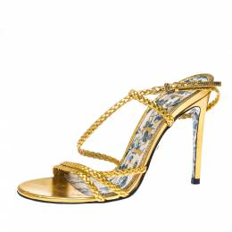 Gucci Metallic Gold Leather Haines Braided Slingback Sandals Size 37 228086