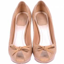 Christian Dior Beige Quilted Cannage Leather Peep Toe Pumps Size 36.5 225173