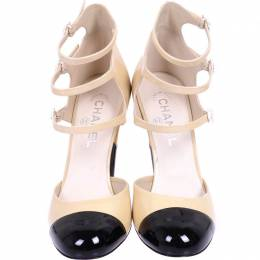 Chanel Black And Beige Patent Leather Camelia Strappy Pumps Size 40 225172
